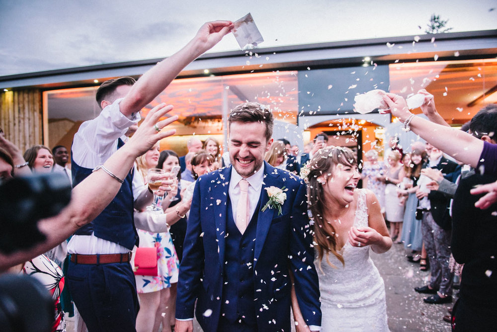 Warwickshire wedding confetti photo