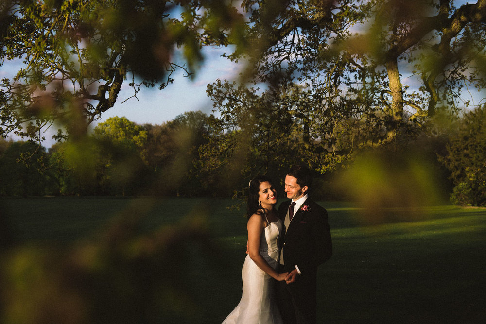 Spring sunshine bride and groom
