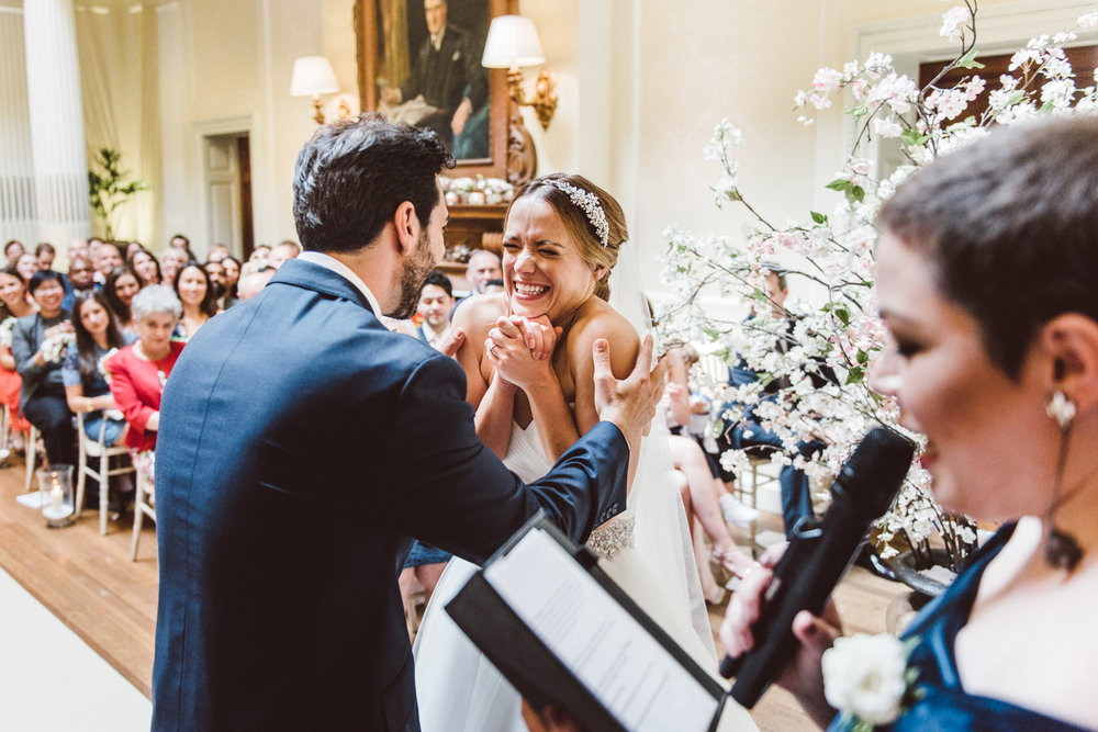 happy bride during her wedding ceremony at hedsor house