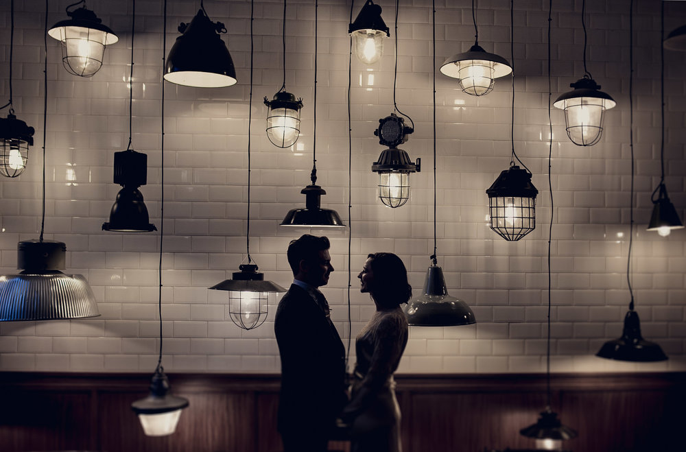 Bride and Groom Lightbulbs at the Town House Hotel London Wedding Venue
