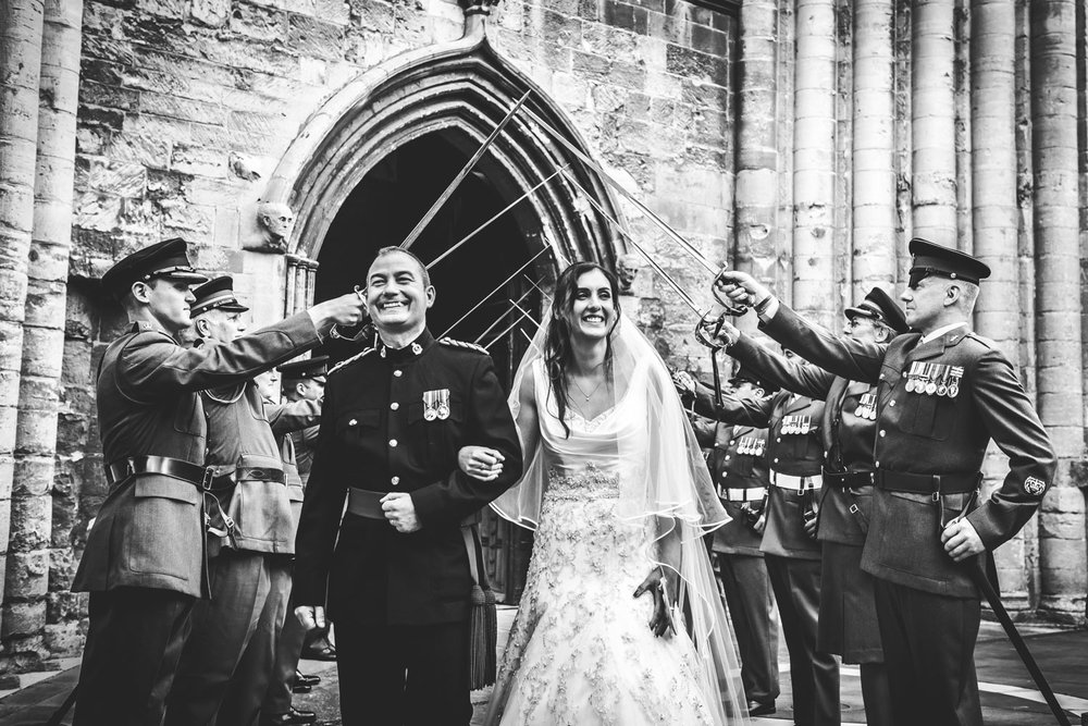 Military Wedding guard of honour at Tewkesbury Abbey, Gloucestershire