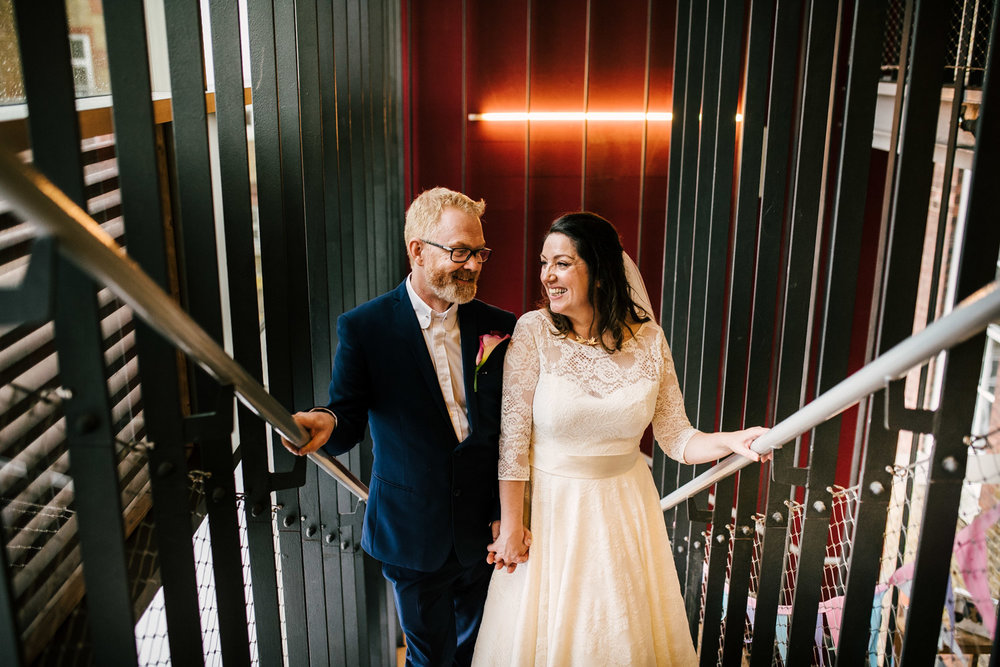 london wedding neon lights at siobhan dance studio