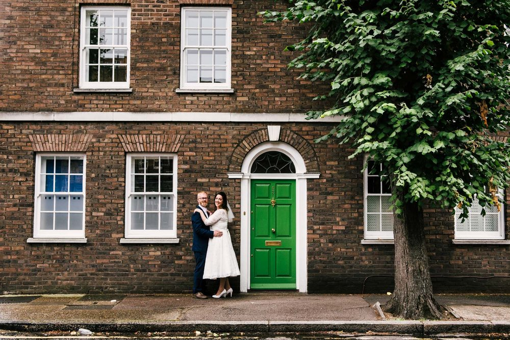 London vintage wedding bride and groom