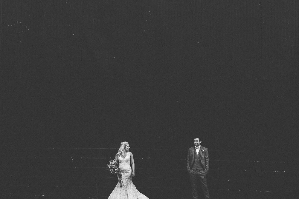 monochrome wedding photo at caswell house