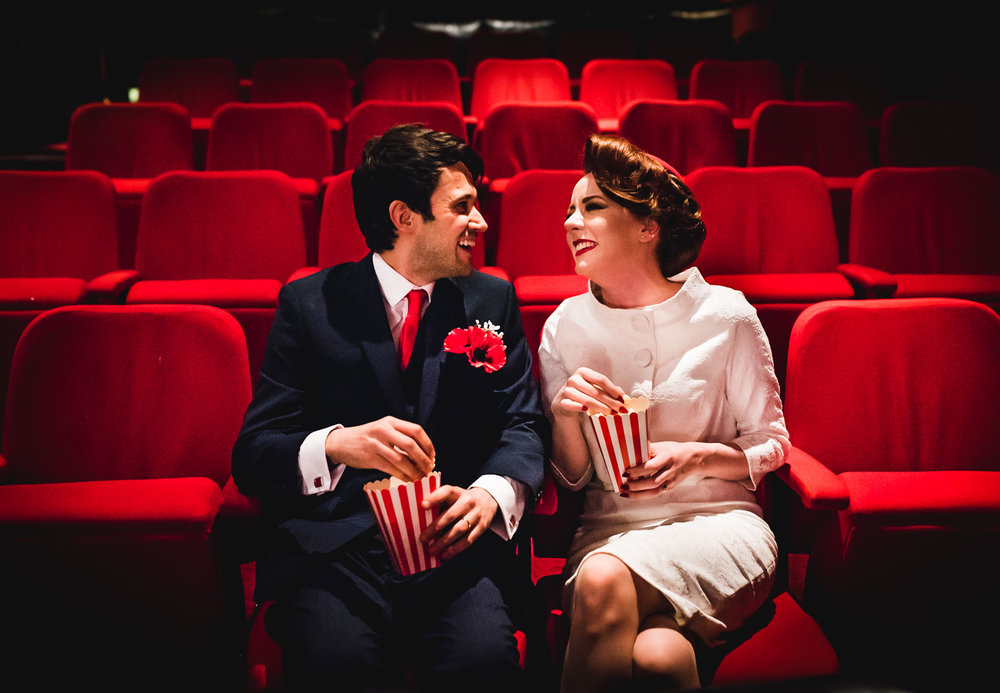 popcorn wedding at the electric cinema, Birmingham