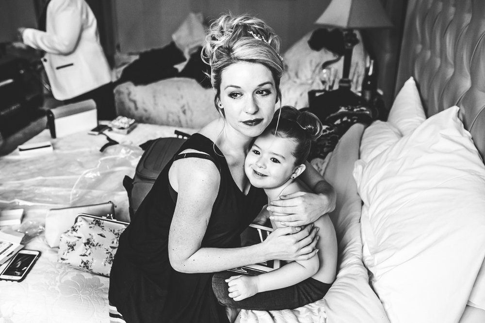 bridal prep bridesmaid cuddle