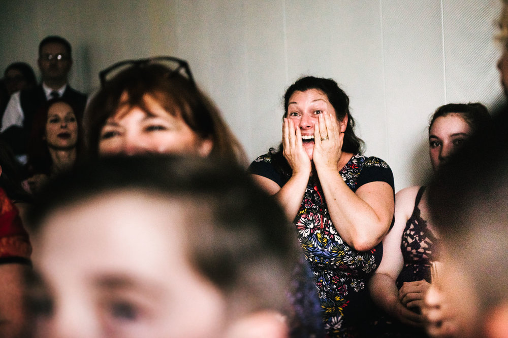 emotional guest during the wedding ceremony in London