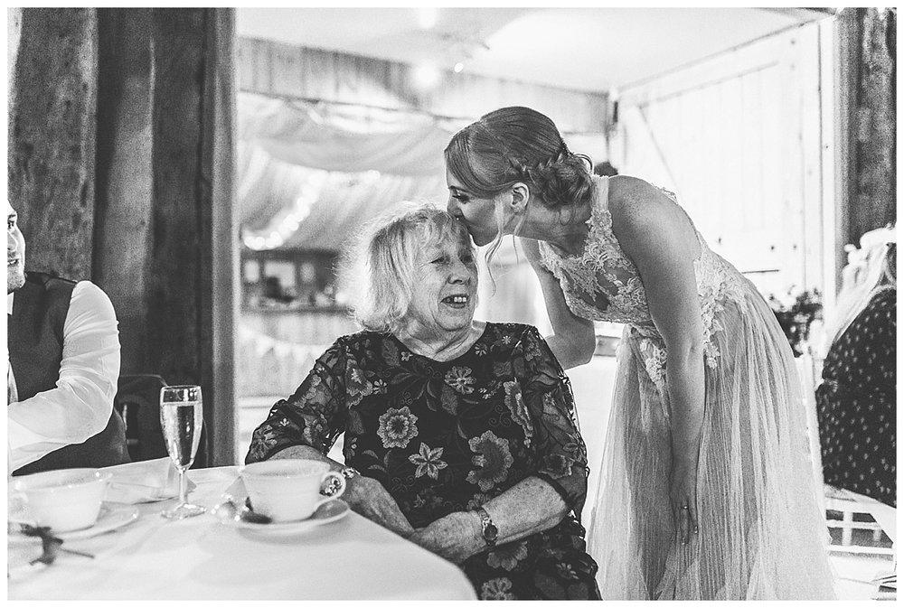 emotional bride kissing her nan
