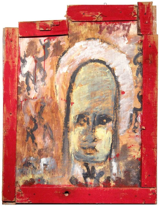 "Purvis Young  Jesus with Halo , c.1994  Formatting Paint on wood with collage-style frame    36.5 x 29 in  94 x 73 cm Hand-signed ""Young"" upper right  Image courtesy of Skot Foreman Fine Art"