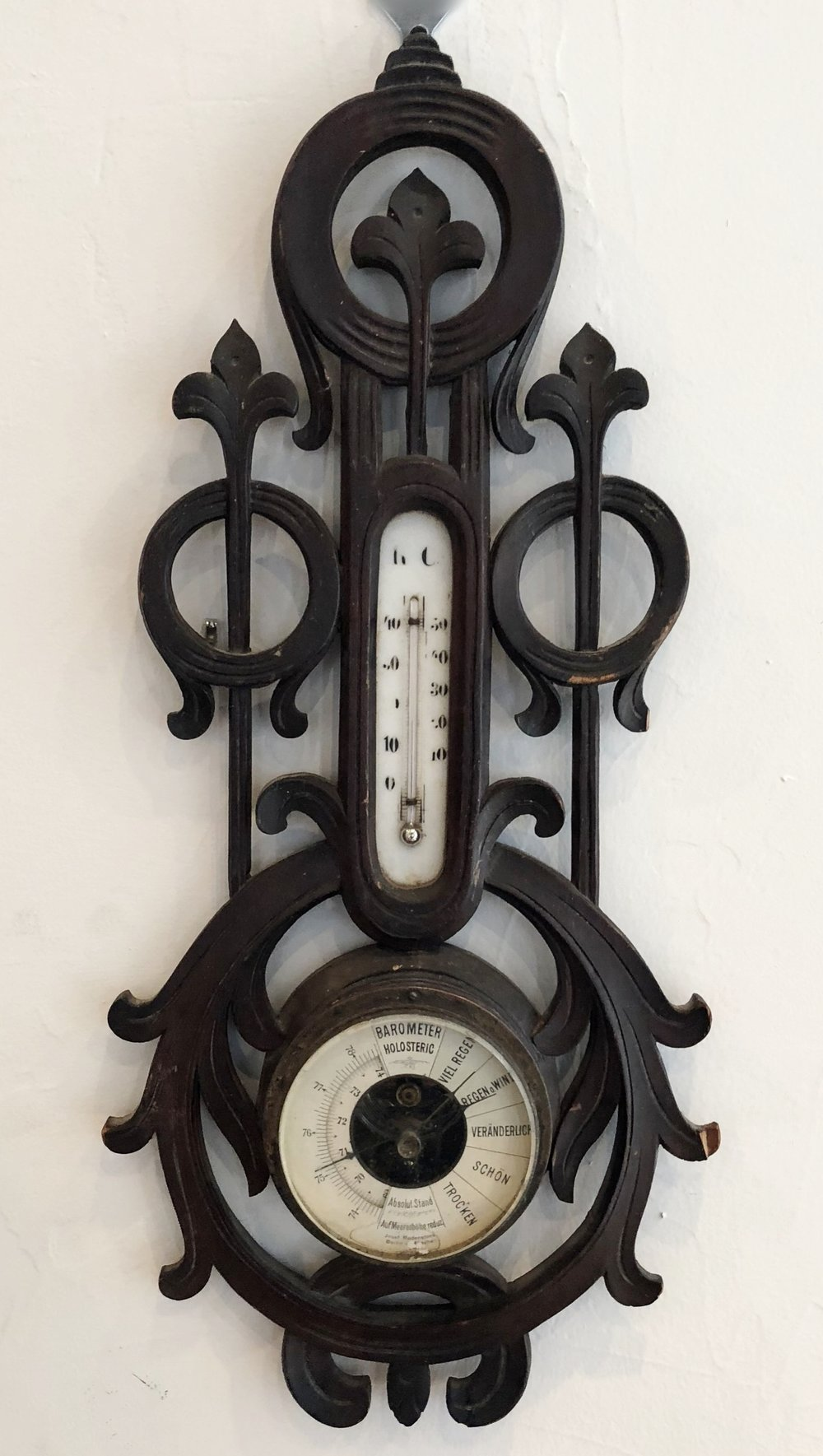 "Antique Hand Carved Wood Barometer   20.25"" H x 9.25"" W  $1200   To order please call us at 202-234-5926 or email at boutique@darrylcarter.com. Please note pricing excludes taxes and shipping."
