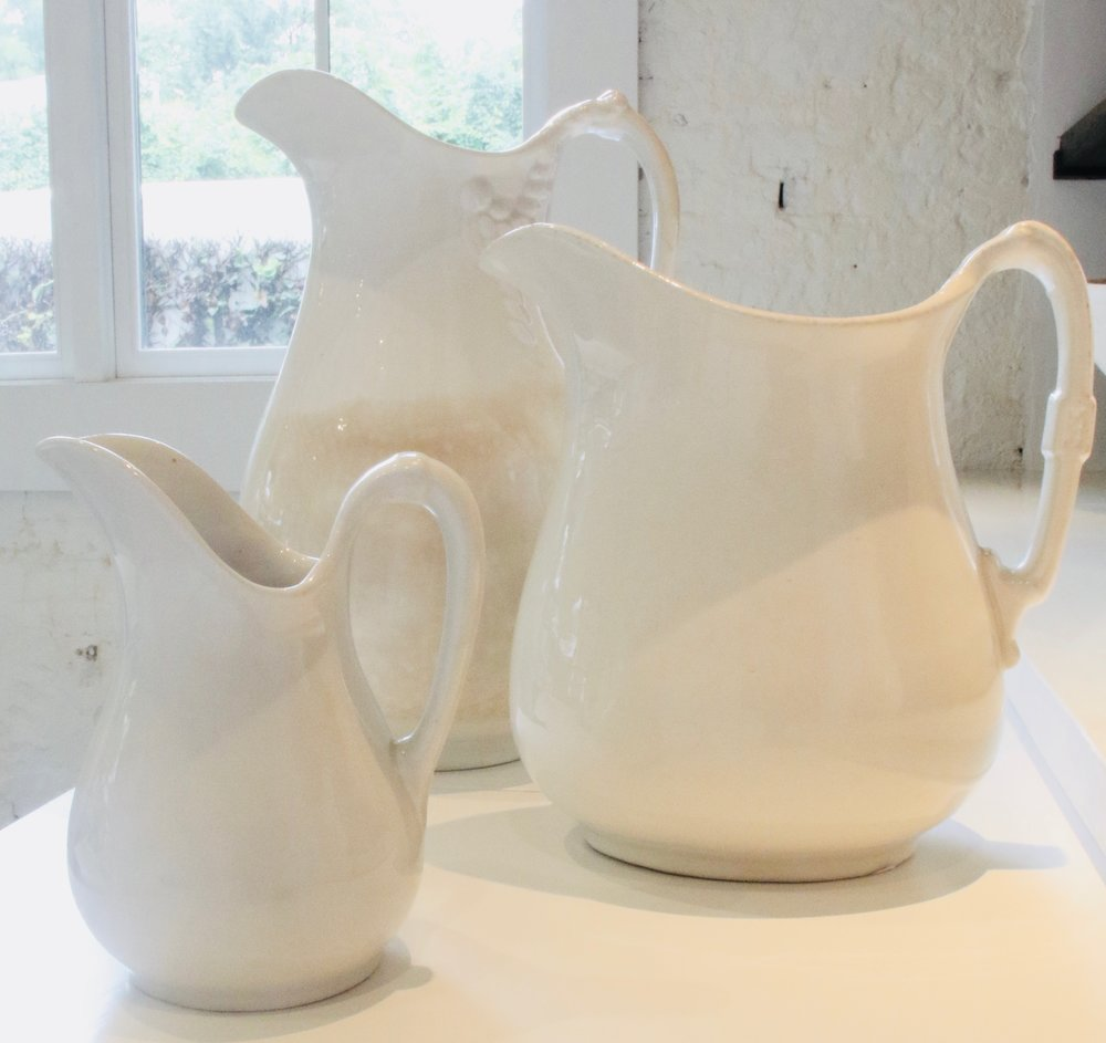 Antique ironstone pitchers   Various sizes available.  $350-650   To order please call us at 202-234-5926 or email at boutique@darrylcarter.com. Please note pricing excludes taxes and shipping.