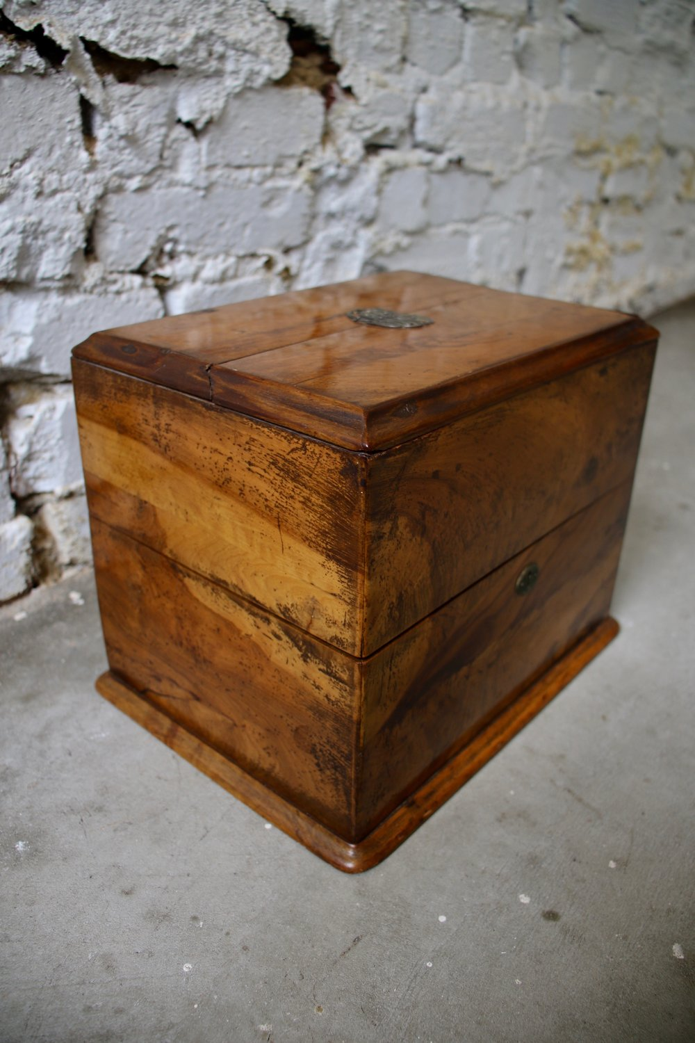 "Burl Wood Box with Monogram Detail and Key    10.75"" L x 8"" D x 8.5"" H   $1650    To order please call us at 202-234-5926 or email at boutique@darrylcarter.com. Please note pricing excludes taxes and shipping."