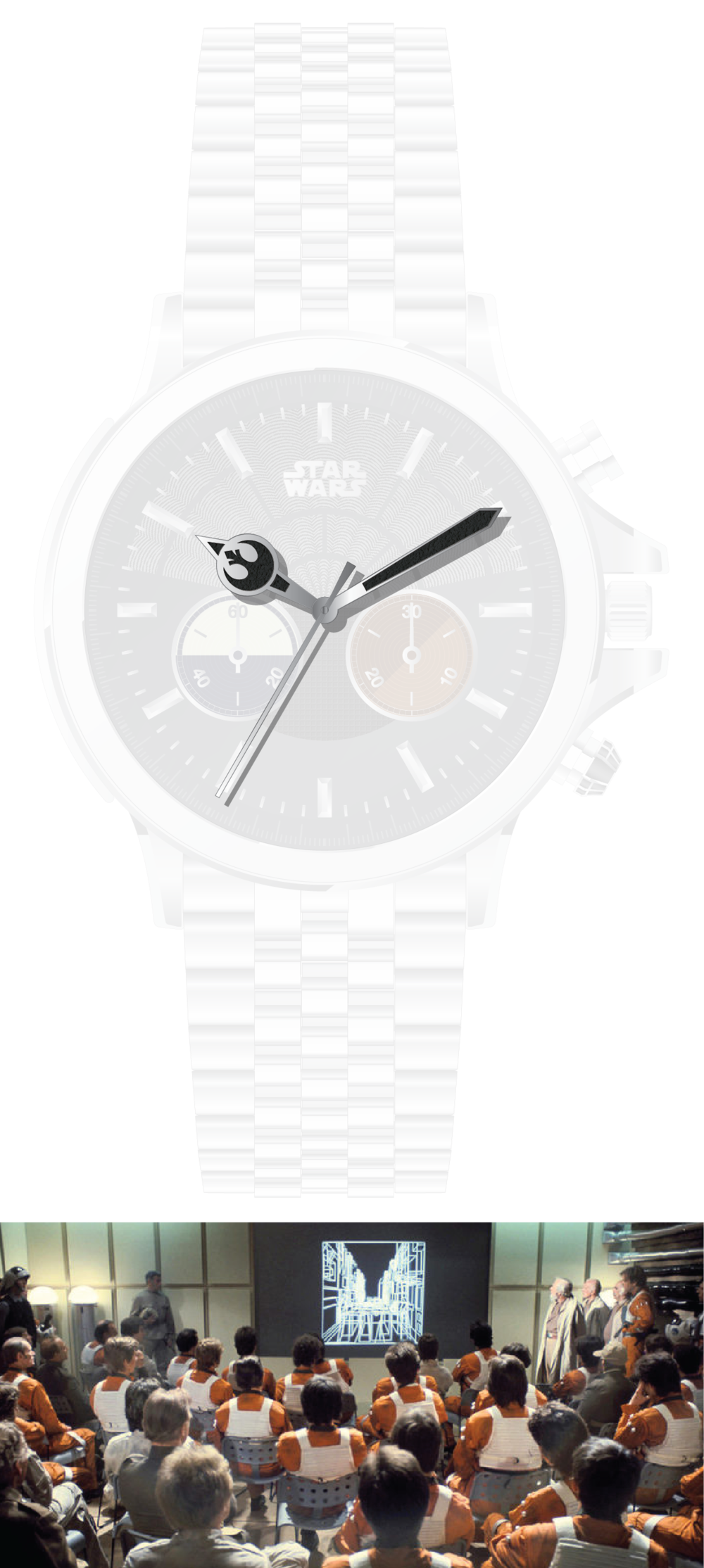 The hour hand boasts a large Rebel Alliance logo.