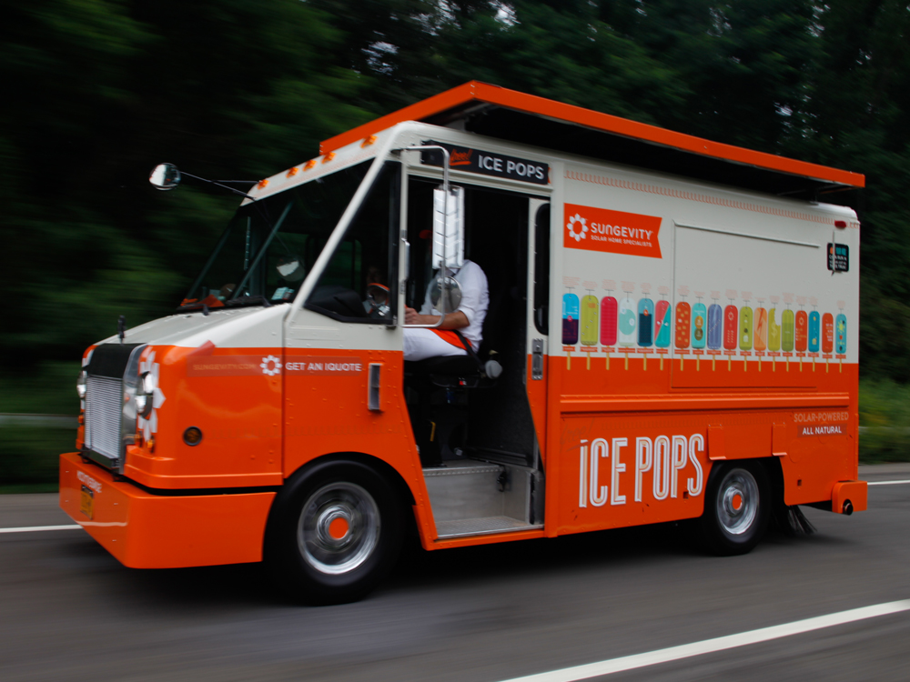 A digital sales machine loaded with ice pops and education for Sungevity.