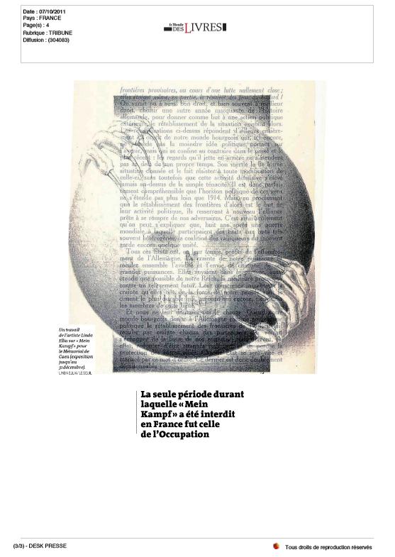 Article paru dans Le Monde des livres, 07/10/11