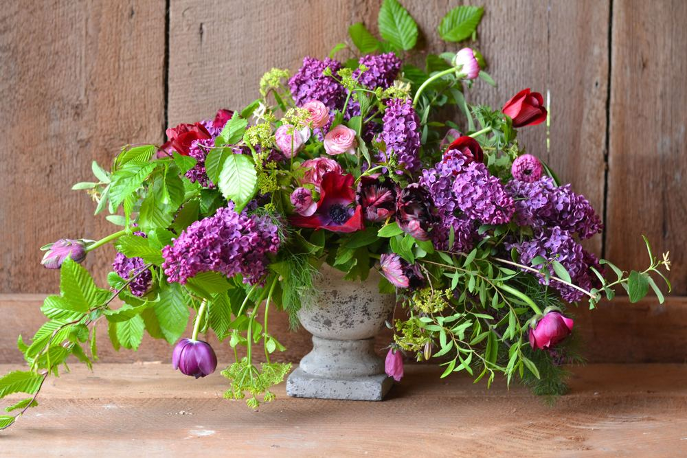 spring lilac centerpiece