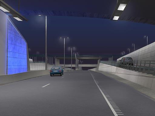Ljussättning av Götatunneln (3D-modell av Arcitec)