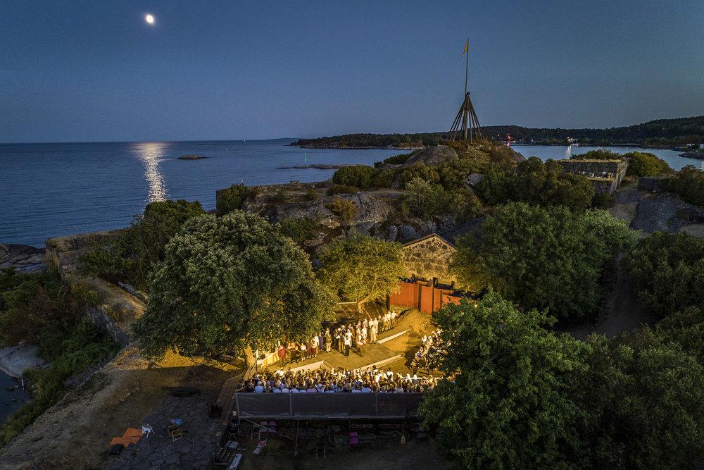 Sommarteater på ön Kastellet utanför Karlshamn