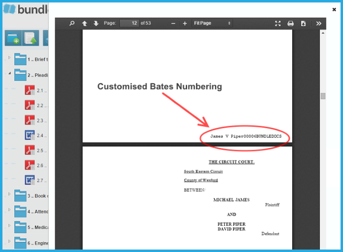 Example of Bates Numbering with Bundledocs