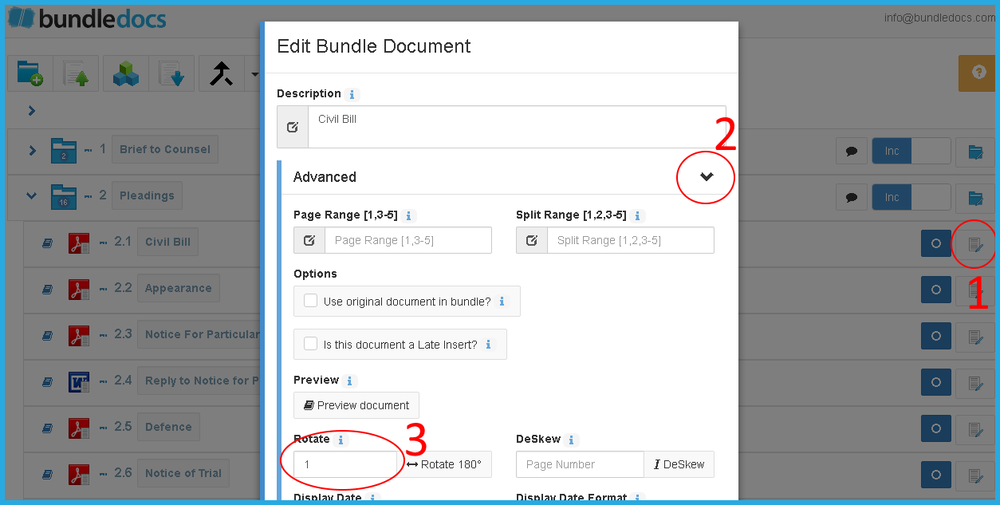 Effortlessly rotate single or multiple pages directly within Bundledocs