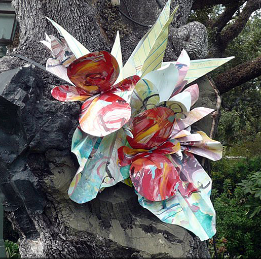 """Flowers for Peggy"" outdoor wall sculpture. Created during a residency at New Orleans Botanical Gardens."