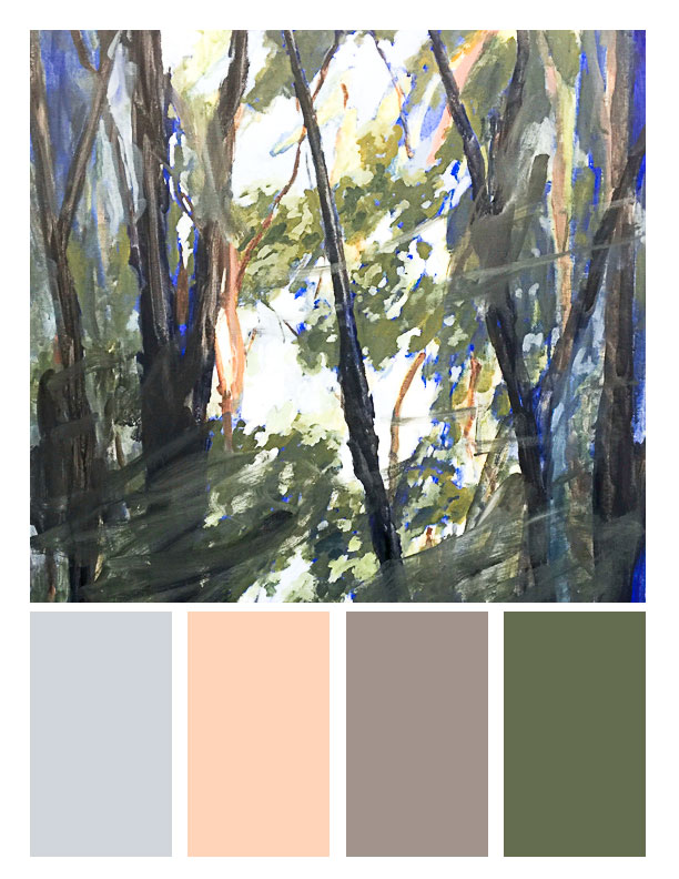 January/Winter Palette. Painting of trees in my backyard in Lacombe, LA.