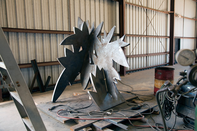 In natural form at Manufab in Bay St. Louis. The piece gets welded at the joints before getting a nice coat of paint.