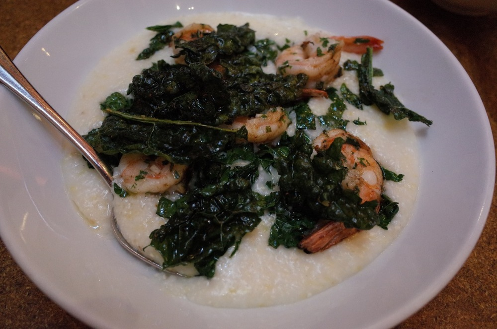 Shrimp and grits and krispy kale