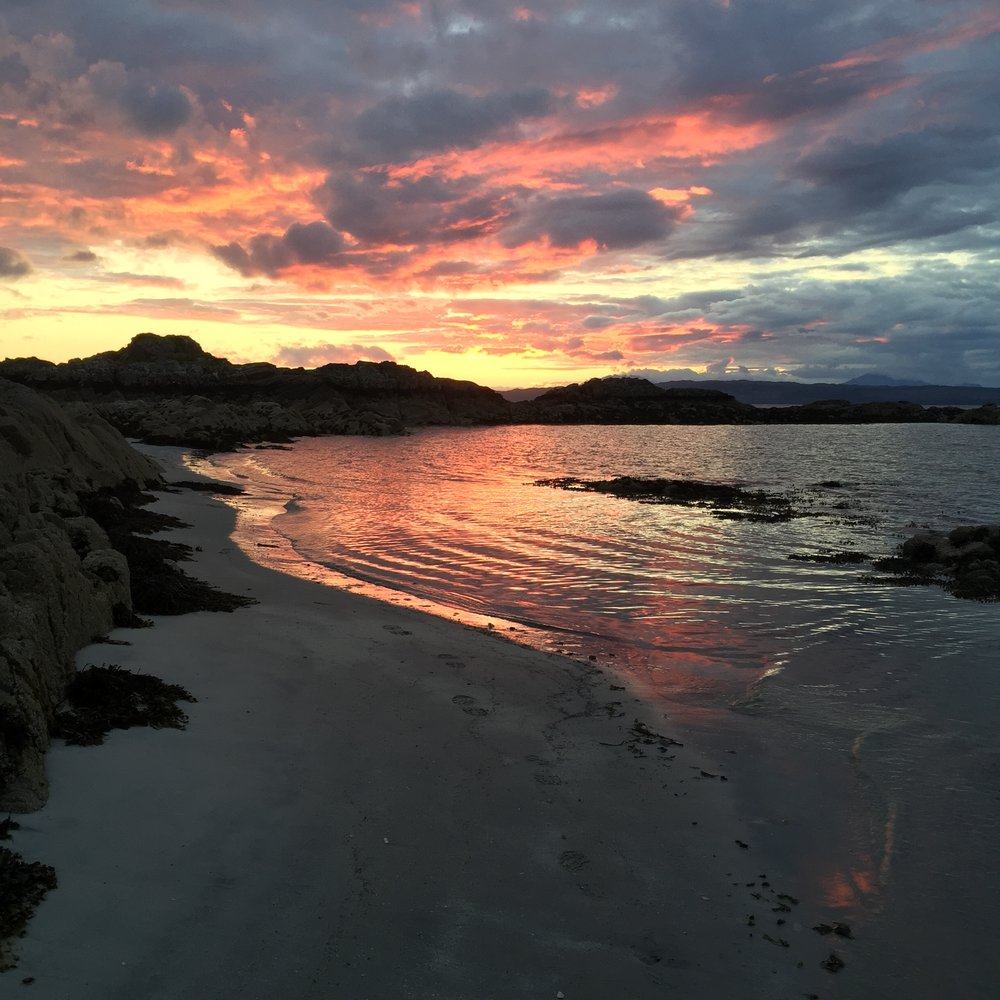 Arisaig, iPhone 6  The curve of the water line draws the viewers eye right through the frame and torwards the sunset. Many organic 'lines' can be found in nature.