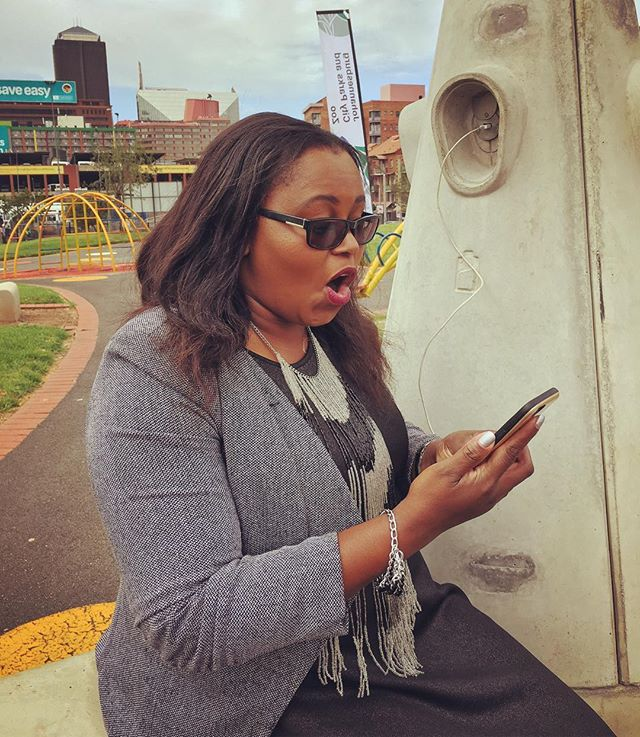 """Oh this is cool! You can charge your phone while you get free wifi!"" - City of Johannesburg MMC Nonhlanhla Sifumba (community development) #loveyourparks #freeWiFi #yourstoshare #cityparks #publicaccess"