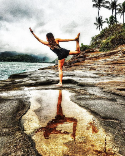 Dancer's Pose at a secret cliffside spot in Oahu