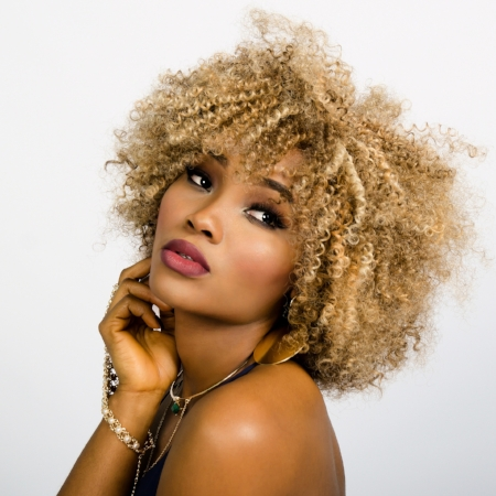 blonde afro
