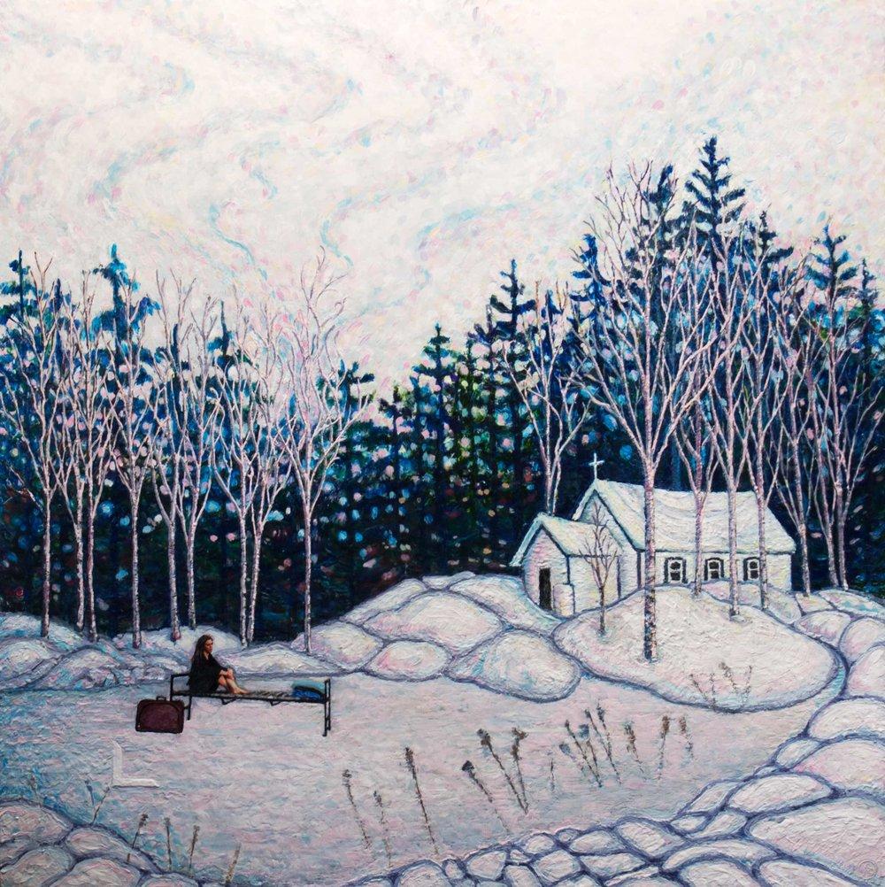 Recuerdo  , Amanta Scott, encaustic with photo on birch panel, 40 x 40 x 1.75 in, 2018