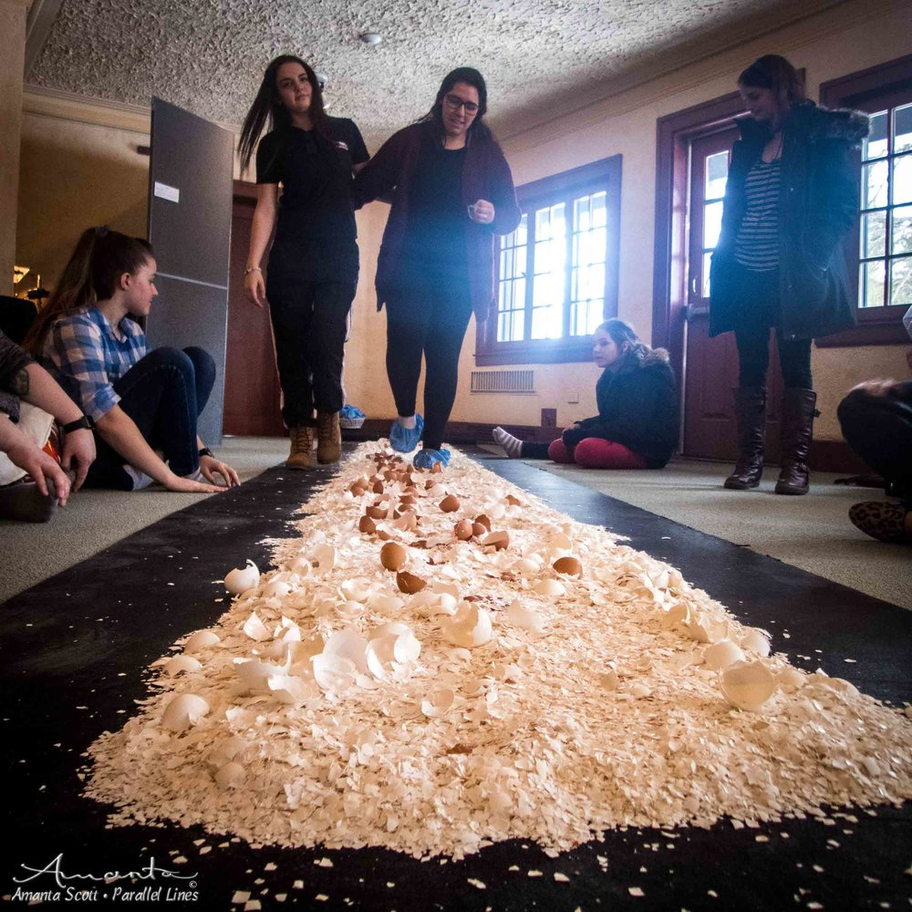 Fragile - a 30+ ft pathway of eggshells upon which Visitors may walk while meditating on what they seek in life