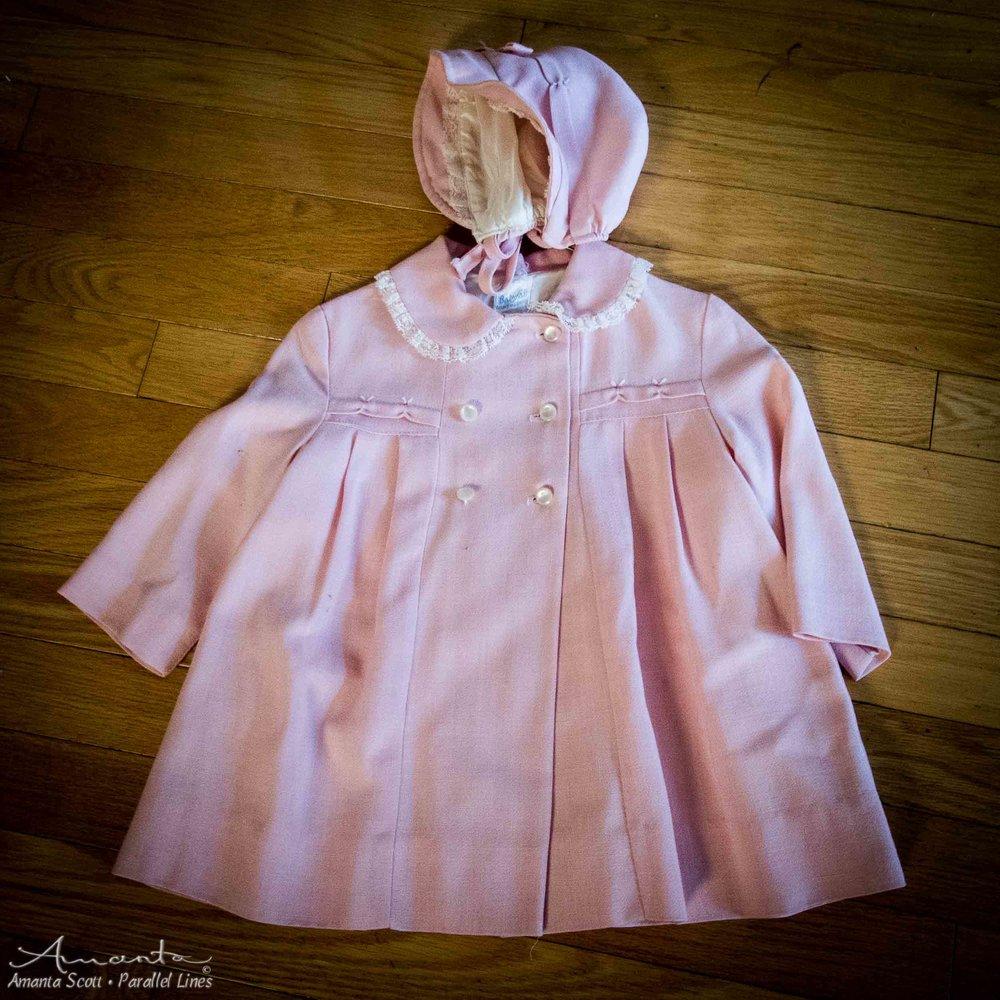 pink dress and bonnet