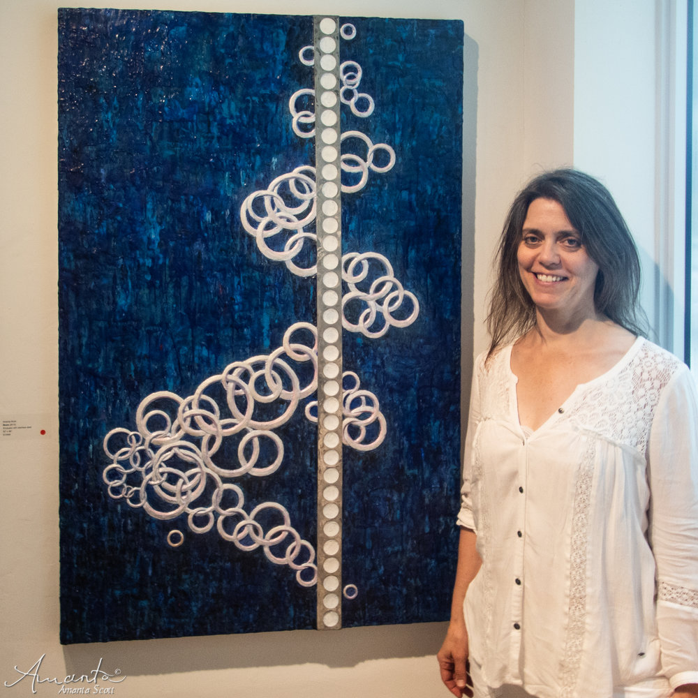 "Artist with ""Blues"" encaustic with stainless steel"