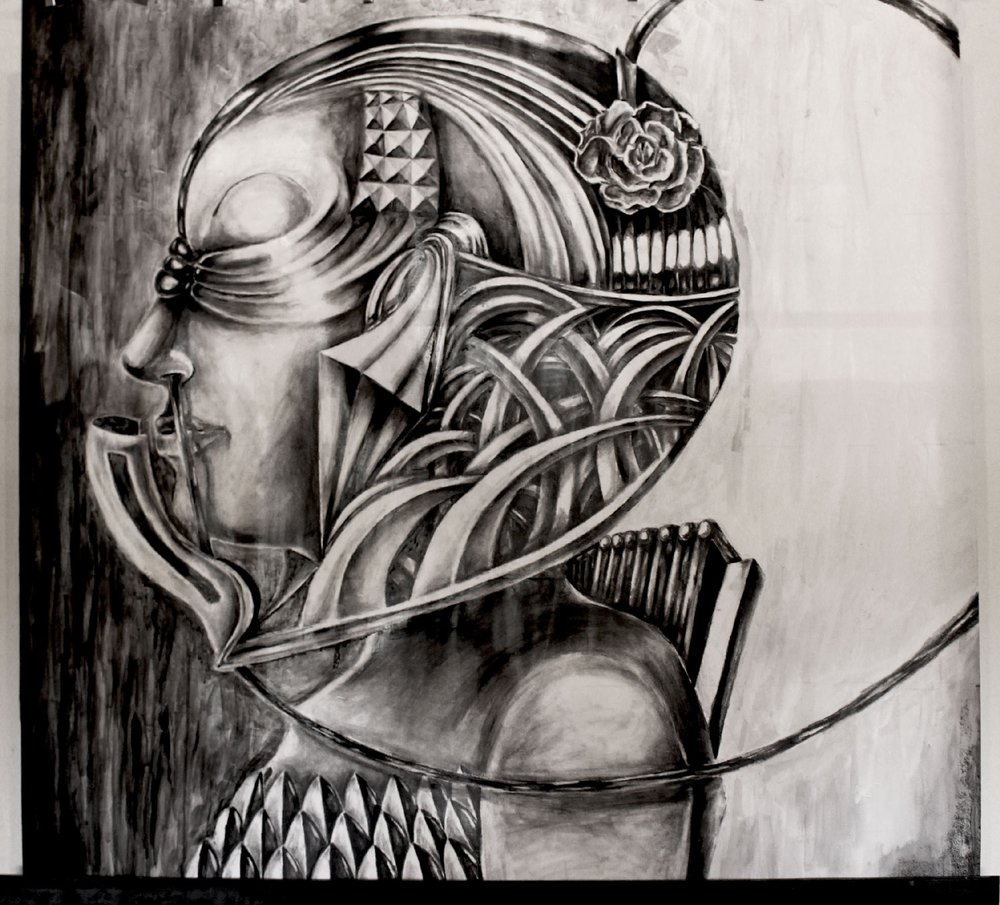 "HELM  Graphite and Ink on paper/35.5""x35"""