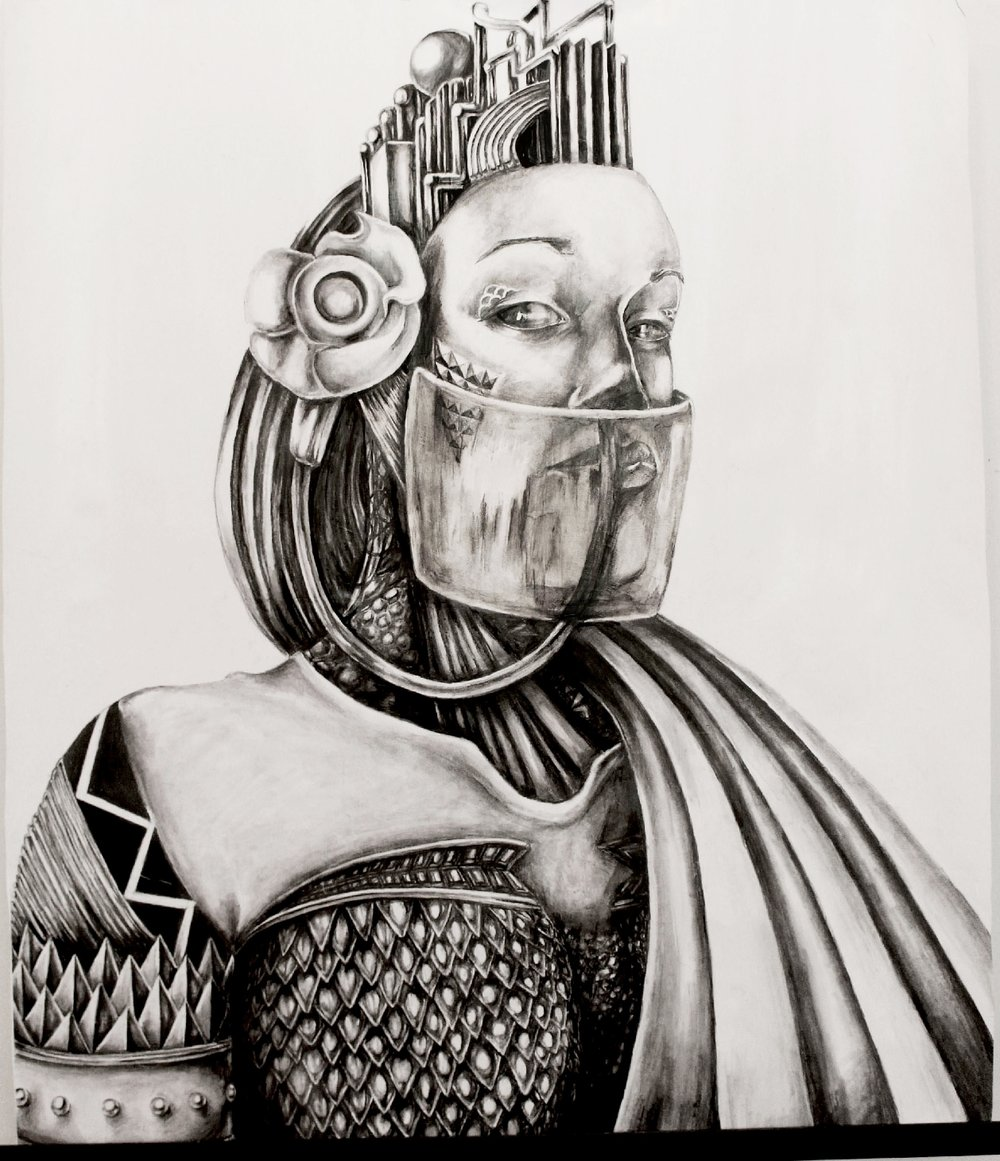 "HAIL-E  Graphite and Ink on paper/36.5""x36"
