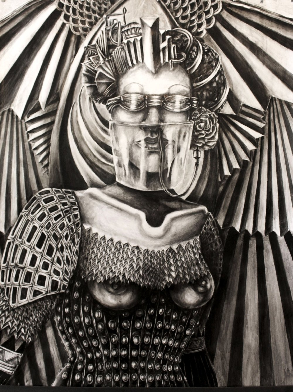 "GUERR-ERA  Graphite and Ink on paper/44""x34"""