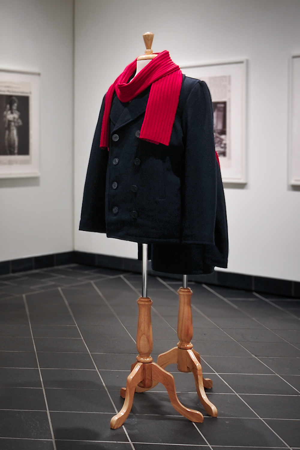 Installation view of the coats