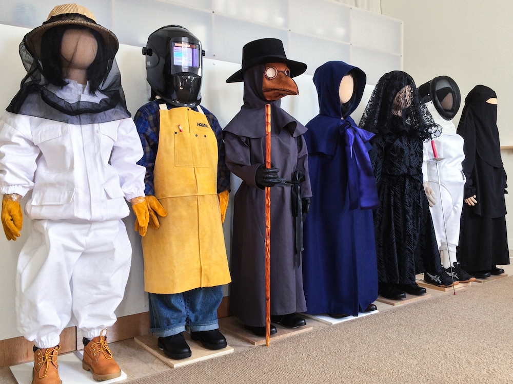 "The ""Uniforms"" sculptures lined up in the studio, March 2015"