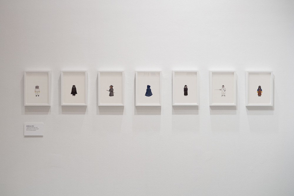 "Installation view of the ""Uniforms"" drawings at the Laurie M. Tisch Gallery in New York, 2016"
