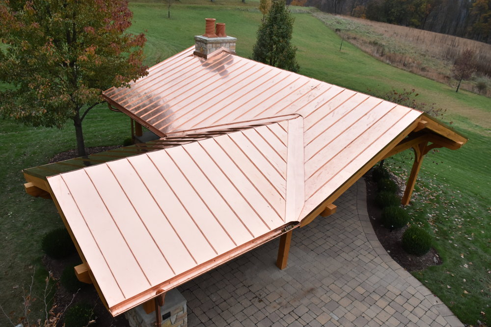 Copper Roof - 20-ounce, double locked, standing seam roof.