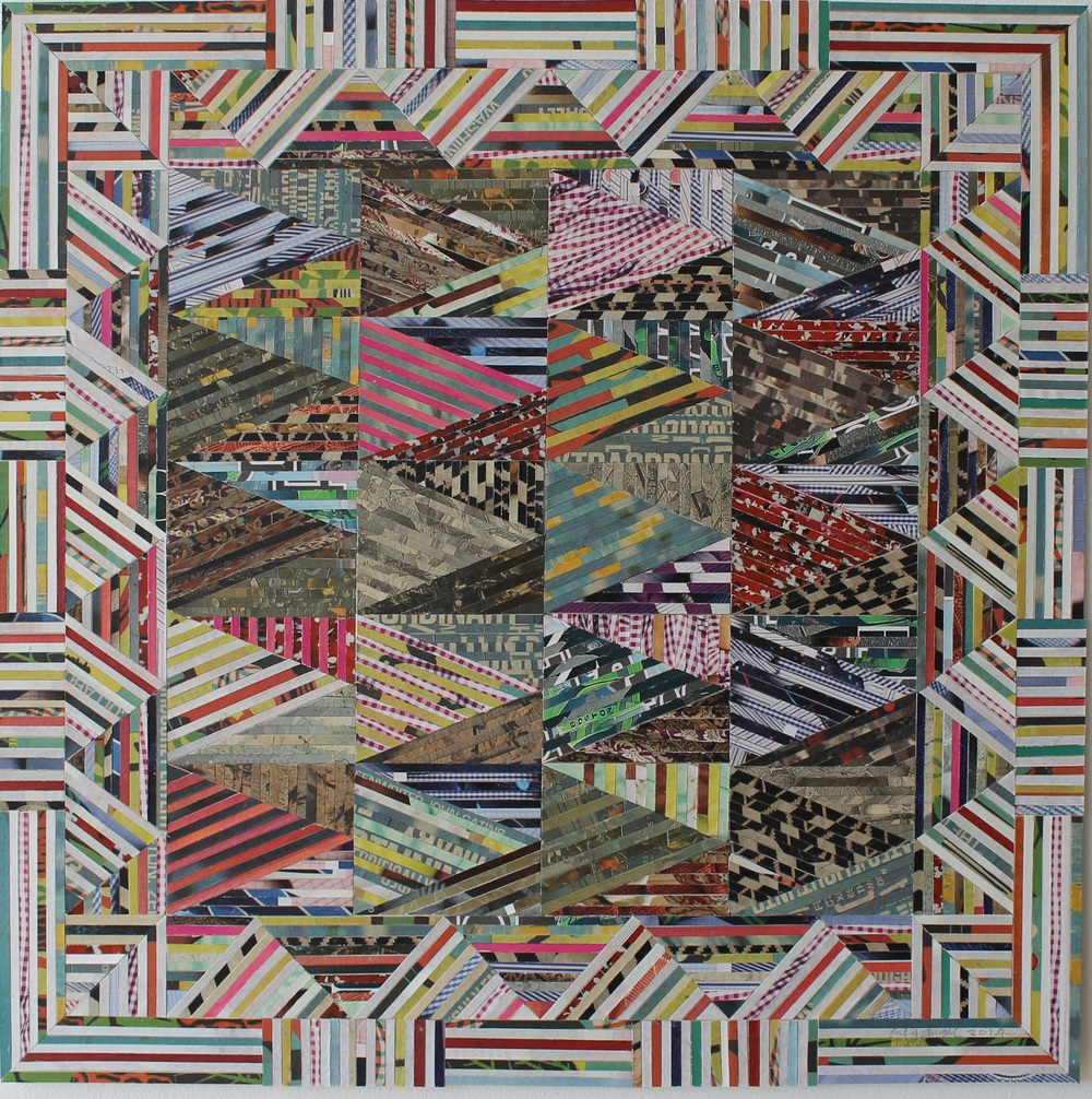 Fabric of lies 2014 Paper inlay on Museum board - 16 x 16 inches - Courtesy of All We Art