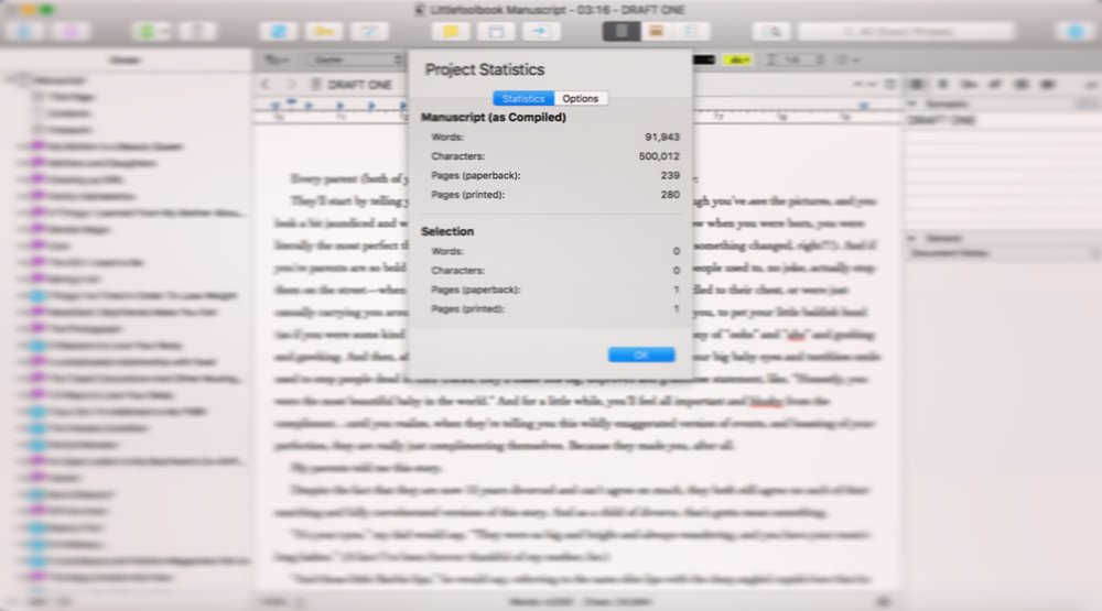 This is a screenshot of my manuscript stats in Scrivener (the program I use for writing), taken September 22, 2016. All those purple symbols on the left side signify completed chapters. OMG, I'm almost done.