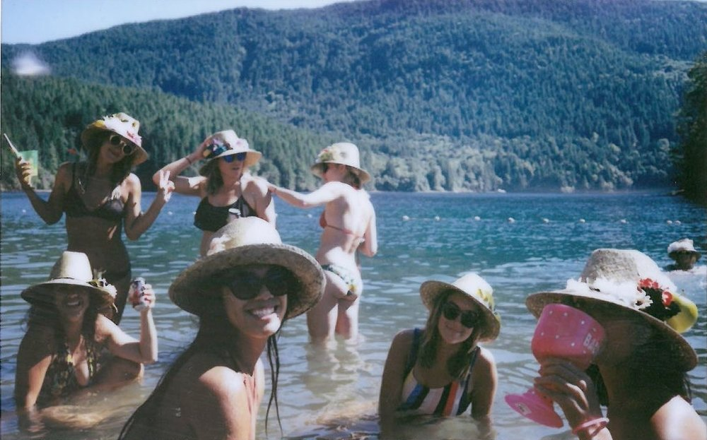 This is half of us on the aforementioned island. You can't really tell because we're all wearing sunglasses, but TRUST ME, those eyes are smeared with sparkles. And approximately 4 hours after this polaroid was taken, we all passed around the same hot pink lipstick.