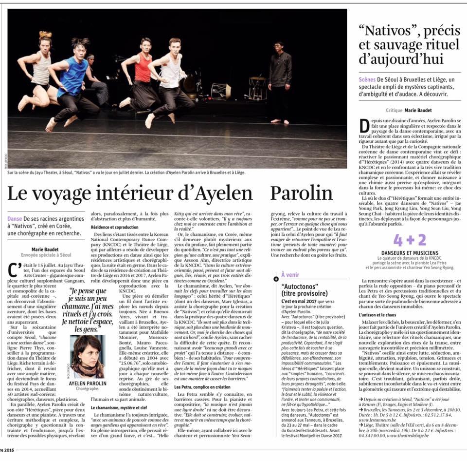 La Libre Belgique, jeudi 1er décembre 2016