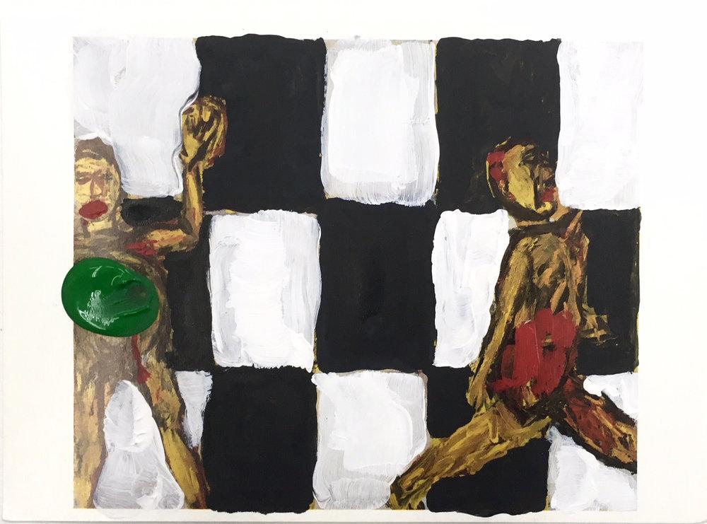 Hérétiques, painting on postcard, Xavier Noiret-Thomé, 2019