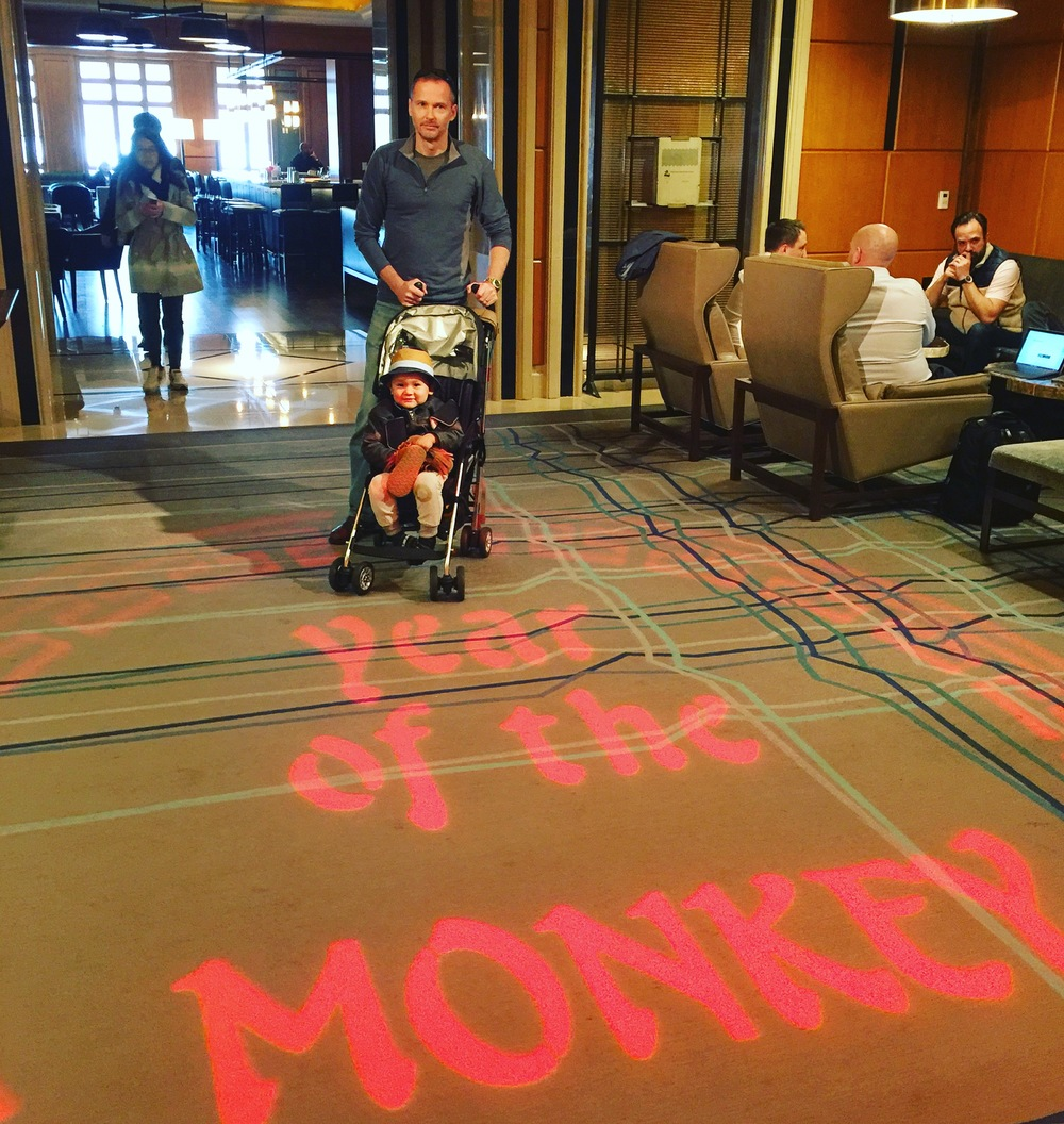 Celebrating the Year of the Monkey with my little monkeys at the Four Seasons SF lounge!  Of course... he had to go and take his moccasins off during lunch.  #SFBaby