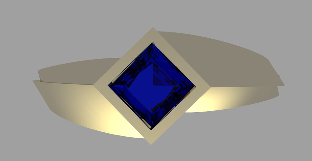 3D rendering of a gold ring solitaire with blue stone. Designed in Rihno3D